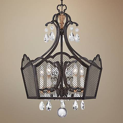 "Cortona 24"" Wide 5-Light French Bronze Pendant"