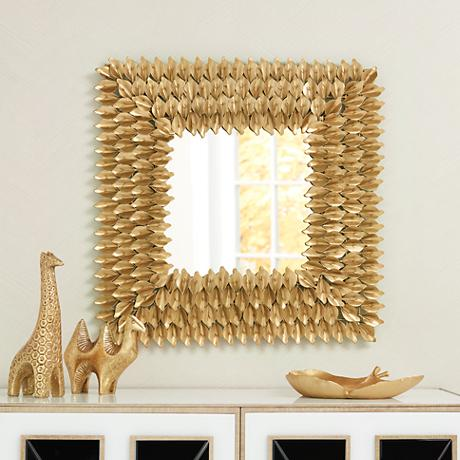 "Capestrano Gold Metal Leaves 25"" Square Wall Mirror"