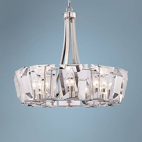 "Castle Aurora 25 1/2""W Crystal Panel 12-Light Chandelier"