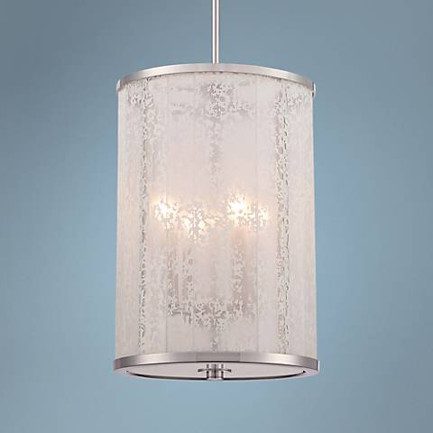 "Lake Frost 12"" Wide White Etched Glass 4-Light Mini Pendant"