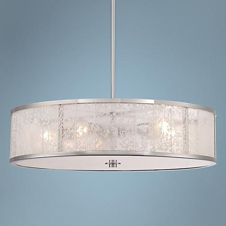 "Lake Frost 26"" Wide 5-Light White Etched Glass Pendant"