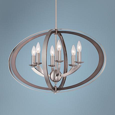 "Ironsights 26"" Wide 6-Light Brushed Nickel Chandelier"