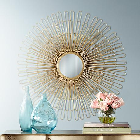 "Cibola Gold 32"" Round Sunburst Wall Mirror"