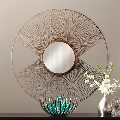 "Brasswell Wire 35"" Round Sunburst Wall Mirror"