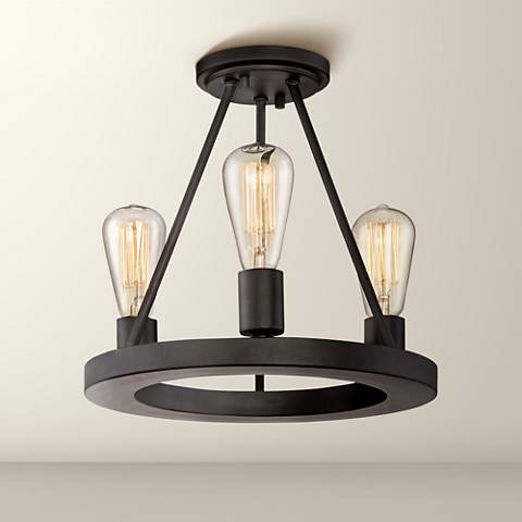 "Lacey 13"" Wide Black 3-Light Ceiling Light with Edison Bulbs"