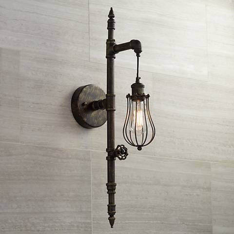 galena 30 high bronze pipe wall sconce 8f498 lamps plus. Black Bedroom Furniture Sets. Home Design Ideas