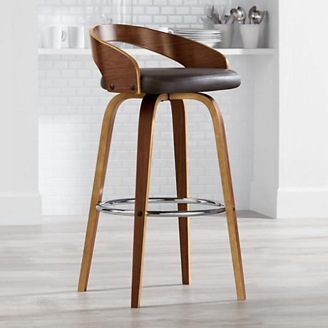"Gratto 29 1/4"" Chocolate Faux Leather and Walnut Barstool"