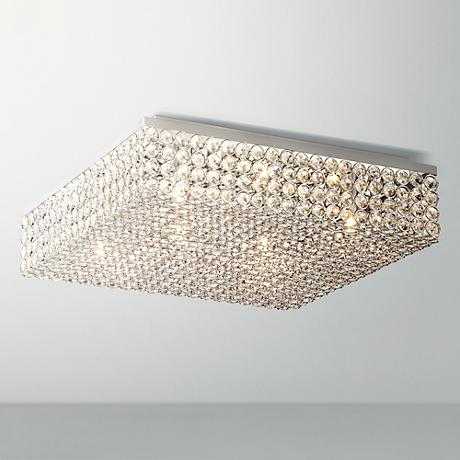 "Velie 15 1/2"" Wide Square Crystal Ceiling Light"