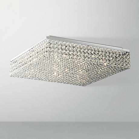 "Velie 18"" Wide Square Crystal Ceiling Light"