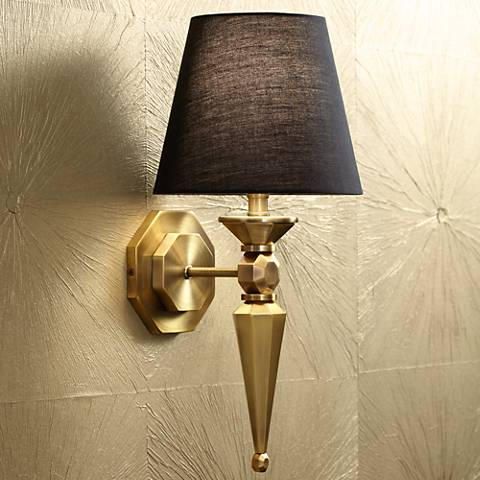 "Textured Fabric Shade 17 1/4"" High Antique Brass Wall Sconce"
