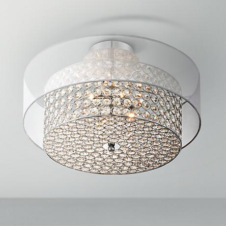 "Possini Euro Viviette 18 1/4""W Crystal Drum Ceiling Light"
