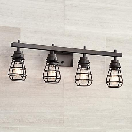 "Bendlin Industrial 31"" Wide Oil-Rubbed Bronze Bath Light"