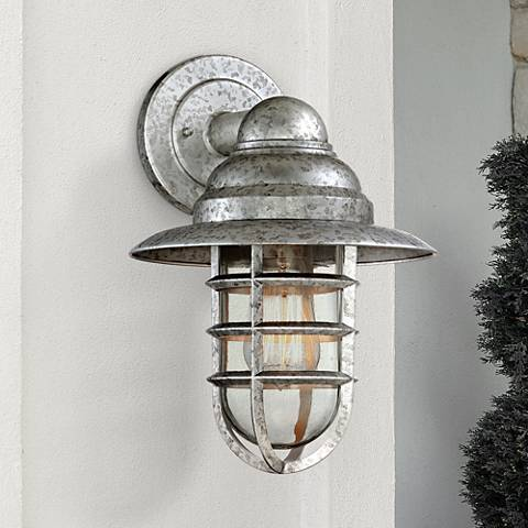 "Marlowe Galvanized 13 1/4""H Hooded Cage Outdoor Wall Light"