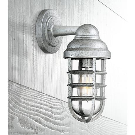 "Marlowe Galvanized 13 1/4""H Metal Cage Outdoor Wall Light"