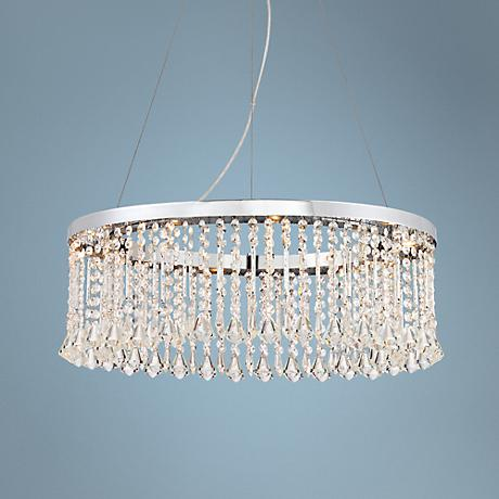"Keanna Chrome 23 3/4"" Wide LED Crystal Pendant Light"