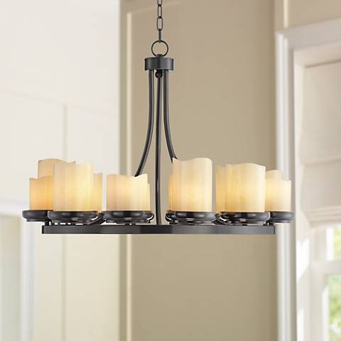 "Augusta 32"" Wide Rustic Bronze Faux Candle Chandelier"