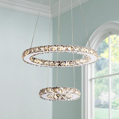 "Possini Euro Bethany 15 3/4"" Wide Crystal LED Pendant Light"