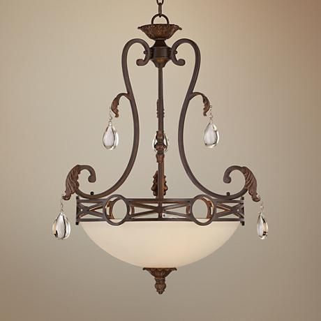 "Eleon 21"" Wide Cream Glass Bronze Pendant"