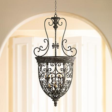 "French Scroll 28"" Wide 12-Light Foyer Chandelier"