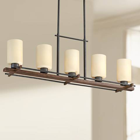 "Ranger 37""W 5-Light Faux Wood and Bronze Island Pendant"