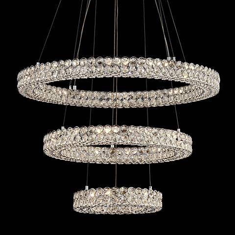 "Perriello 27 1/2""W Tiered LED Crystal Ring Pendant"