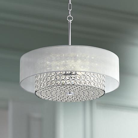 "Possini Euro Viviette 20"" Wide Crystal Drum Pendant Light"