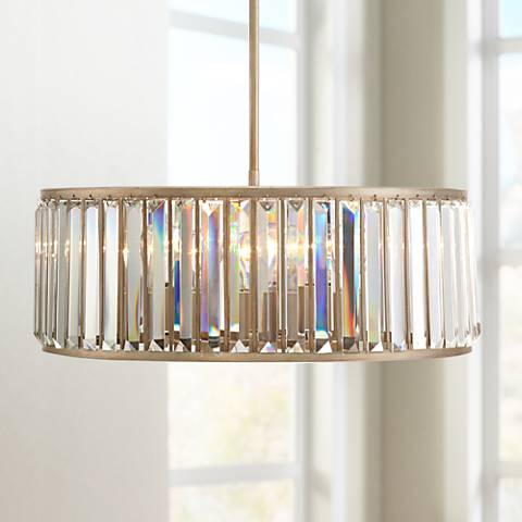 "Jania Crystal 20 3/4"" Wide Silver Leaf Pendant Light"
