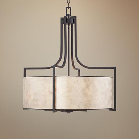 "Wilson English Bronze 26"" Wide Mica Shade Pendant Light"