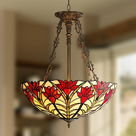 "Tiffany Style Ruby Flora 22 1/2"" Wide Bronze Pendant Light"
