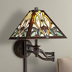 Robert Louis Tiffany Victorian Art Glass Swing Arm Wall Lamp