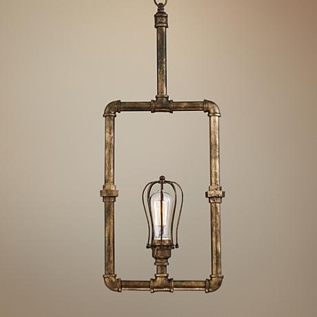 "Galena 12 3/4"" Wide Golden Bronze Pipe Pendant Light"