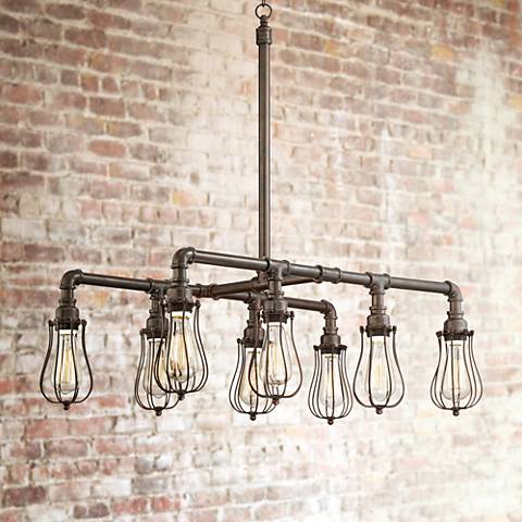 "Galena 33"" Wide 8-Light Bronze Pipe Island Pendant"
