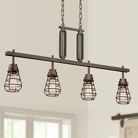 "Bendlin Industrial 40 3/4""W Oil-Rubbed Bronze Island Pendant"