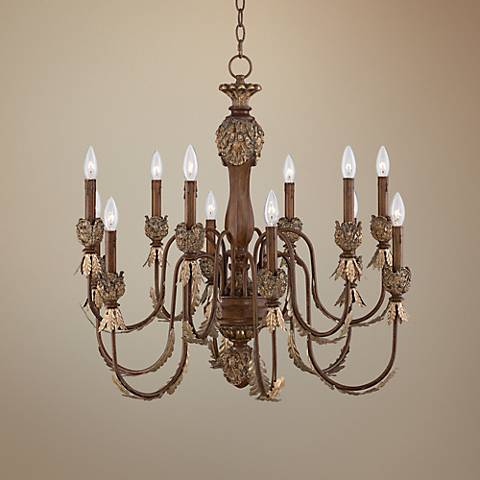 "Cristobal 29 1/2"" Wide 12-Light Gold Leaves Chandelier"