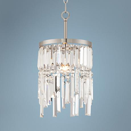 "Kylie Brushed Nickel 9 1/2"" Wide Crystal Mini Pendant"