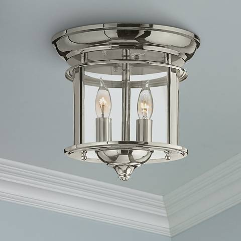 "Hinkley Gentry 9 1/2"" Wide Polished Nickel Ceiling Light"