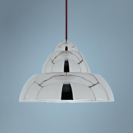 "Lehigh 12 3/4"" Wide Polished Nickel Pendant Light"