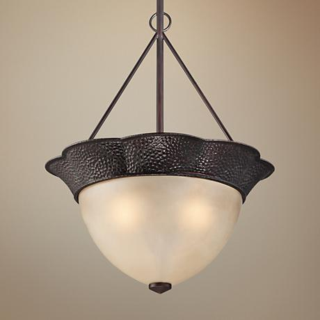 "Annville 20"" Wide Hammered Bronze Pendant Light"