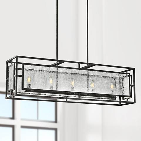"Feiss Prairielands 42"" Wide Dark Zinc 5-Light Chandelier"