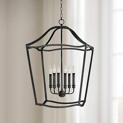 "Feiss Yarmouth 20 1/4""W 6-Light Forged Iron Lantern Pendant"