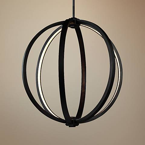 "Feiss Klohe 20"" Wide Oil Rubbed Bronze LED Orb Pendant"