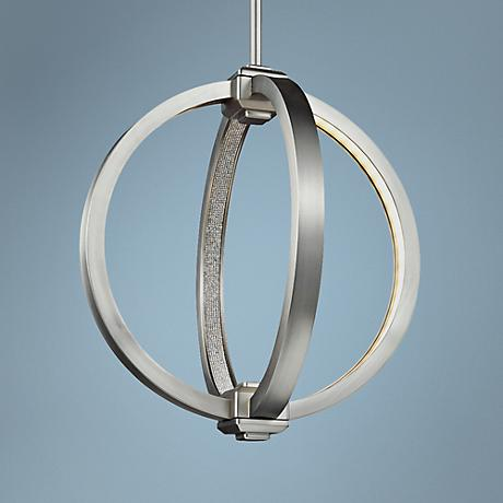 "Feiss Klohe 12"" Wide Satin Nickel LED Orb Mini Pendant"