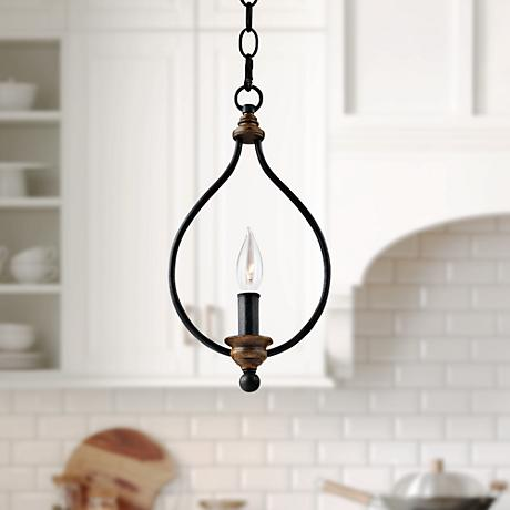 "Feiss Hartsville 7 3/4""W Dark Zinc 1-Light Mini Pendant"
