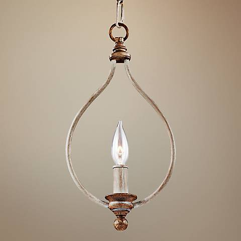 "Feiss Hartsville 7 3/4""W Chalk Wash 1-Light Mini Pendant"