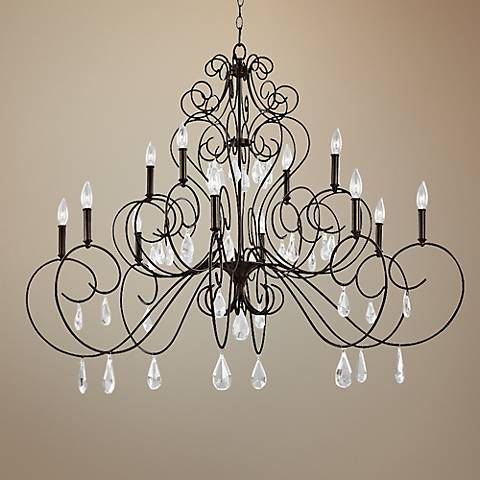 "Feiss Angelette 50"" Wide Bronze Steel 12-Light Chandelier"