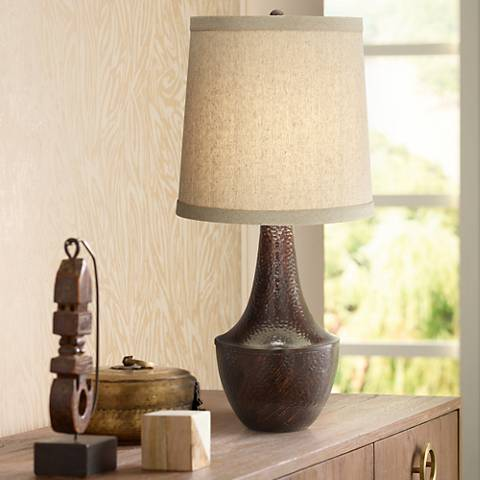 Fausto Hammered Bronze Gourd Table Lamp