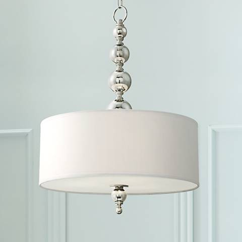 "Mila 20"" Wide Satin Nickel Drum Pendant Light"