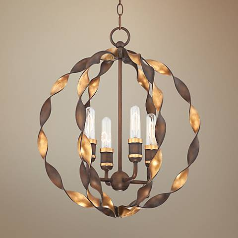 "Demetria 19 1/4"" Wide 4-Light Twisted Metal Chandelier"