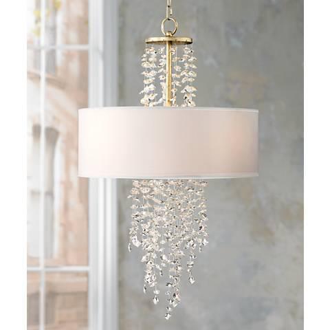 """Julius Crystal 24"""" Wide Antique Silver Leaf Pendant Light"""