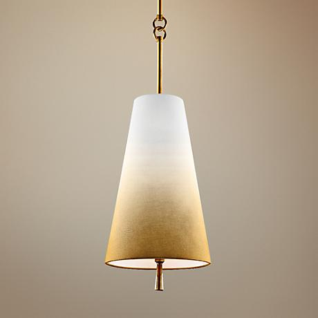 "Feiss Tori 8"" Wide Bali Brass 1-Light Linen Mini Pendant"